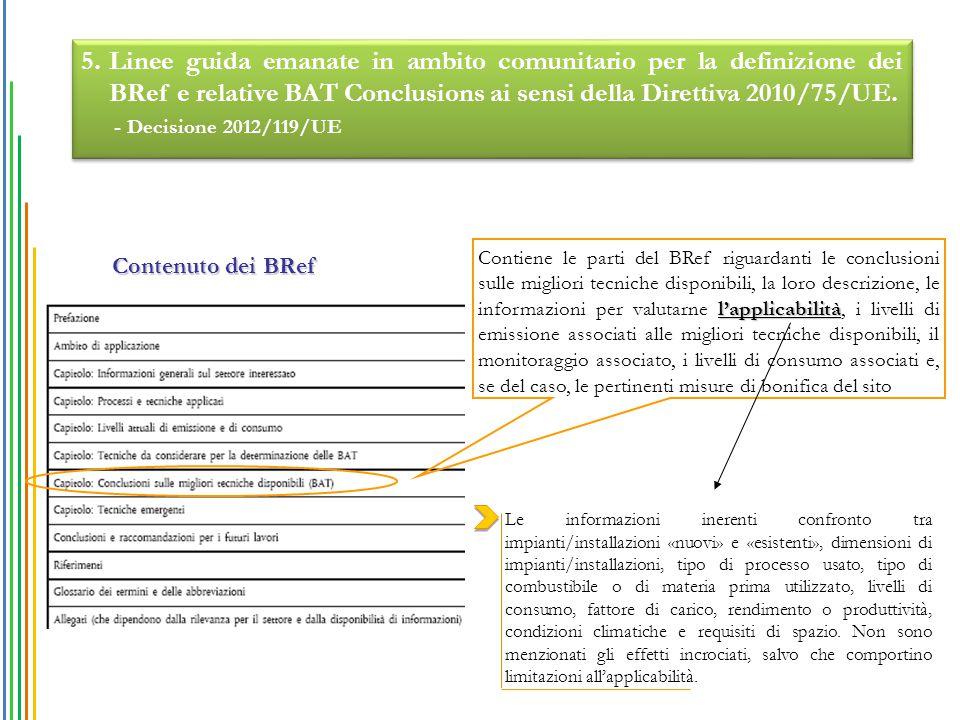 l'applicabilità Contiene le parti del BRef riguardanti le conclusioni sulle migliori tecniche disponibili, la loro descrizione, le informazioni per va