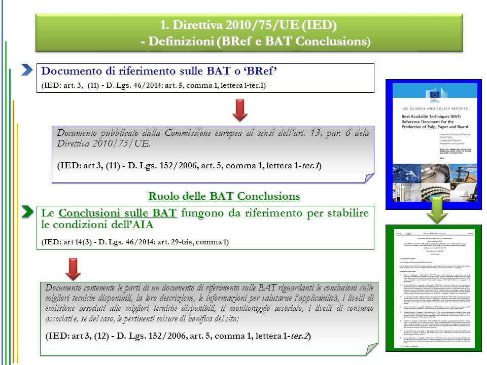 Ruolo delle BAT Conclusions Conclusioni sulle BAT Le Conclusioni sulle BAT fungono da riferimento per stabilire le condizioni dell'AIA (IED: art 14(3) - D.