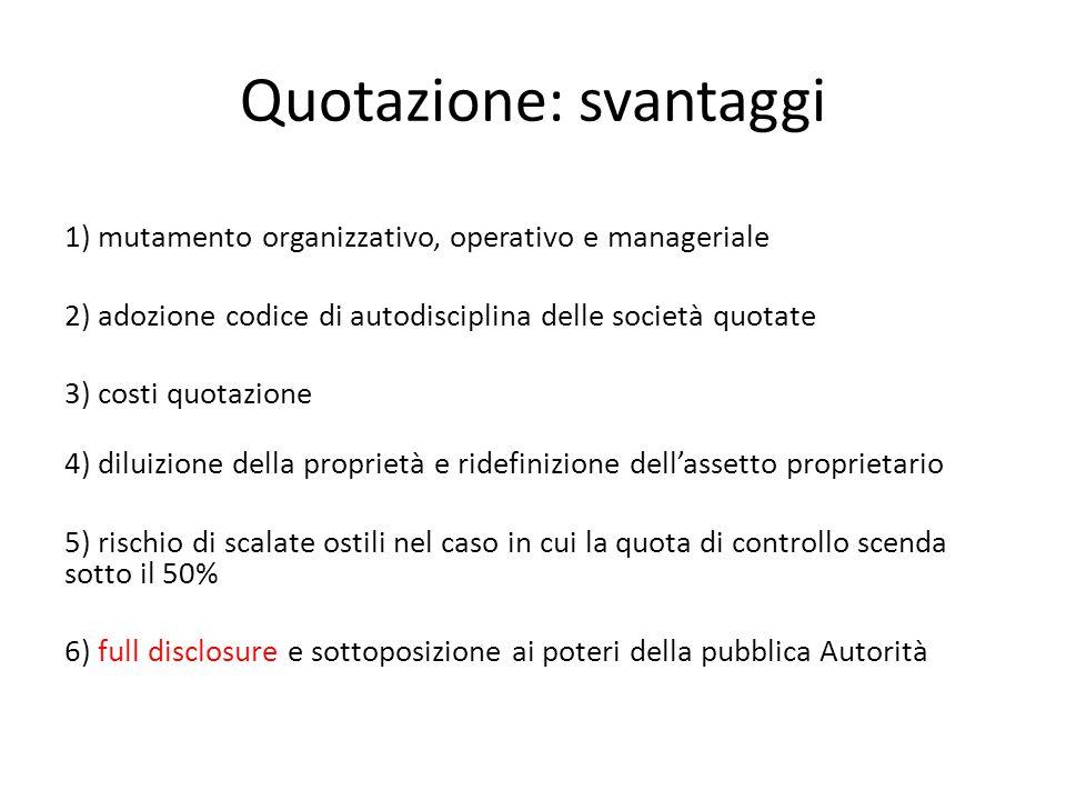 Quotazione: svantaggi 1) mutamento organizzativo, operativo e manageriale 2) adozione codice di autodisciplina delle società quotate 3) costi quotazi