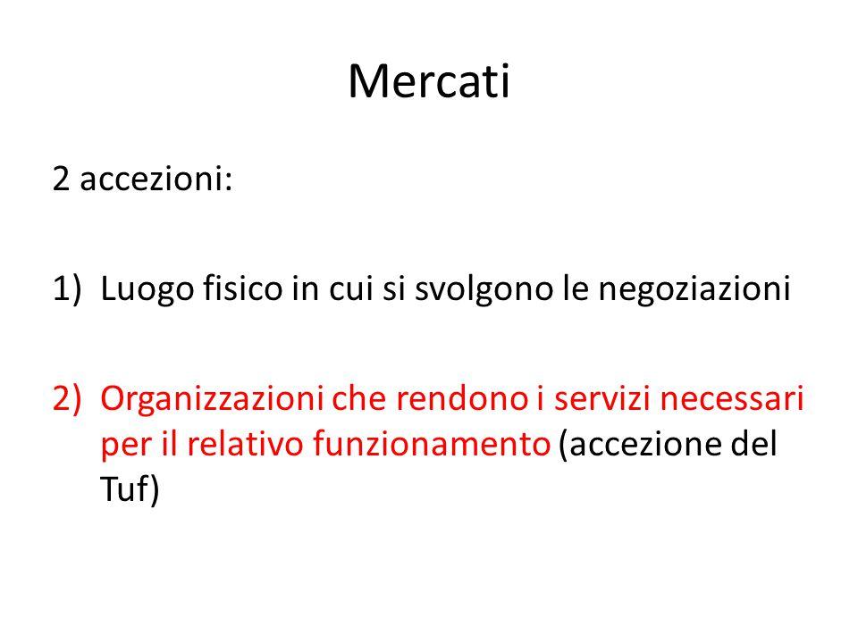 Mercati 2 accezioni: 1)Luogo fisico in cui si svolgono le negoziazioni 2)Organizzazioni che rendono i servizi necessari per il relativo funzionamento