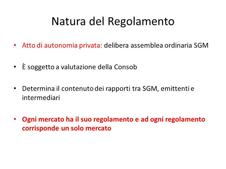Natura del Regolamento Atto di autonomia privata: delibera assemblea ordinaria SGM È soggetto a valutazione della Consob Determina il contenuto dei ra