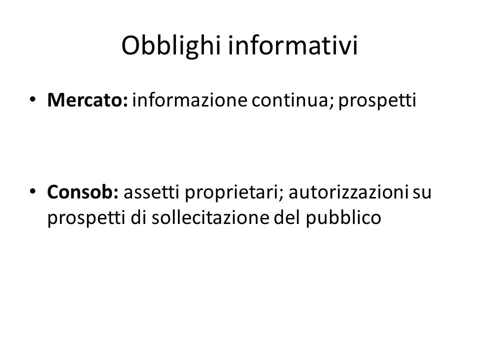 Obblighi informativi Mercato: informazione continua; prospetti Consob: assetti proprietari; autorizzazioni su prospetti di sollecitazione del pubblico