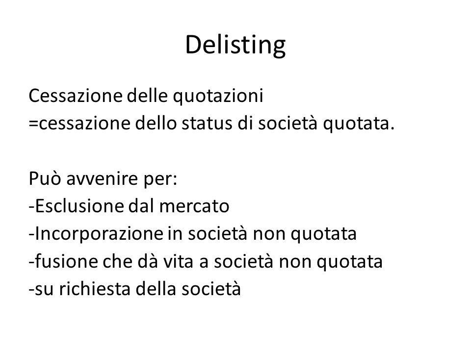 Delisting Cessazione delle quotazioni =cessazione dello status di società quotata.