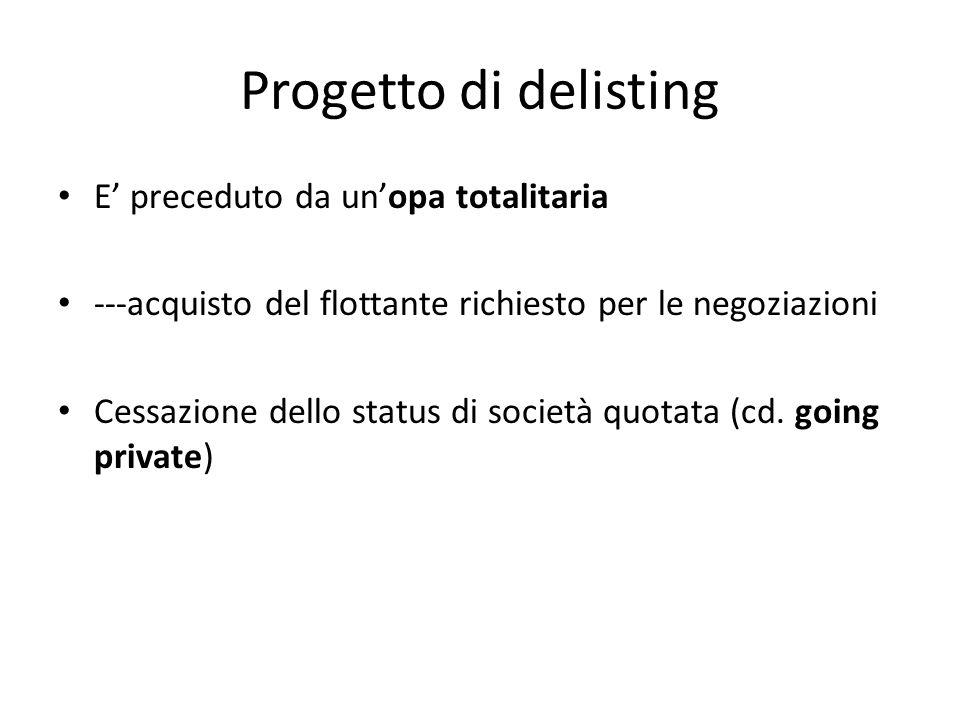 Progetto di delisting E' preceduto da un'opa totalitaria ---acquisto del flottante richiesto per le negoziazioni Cessazione dello status di società quotata (cd.
