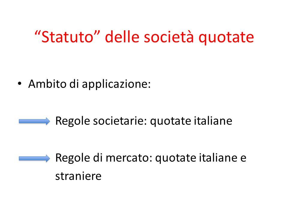 """""""Statuto"""" delle società quotate Ambito di applicazione: Regole societarie: quotate italiane Regole di mercato: quotate italiane e straniere"""
