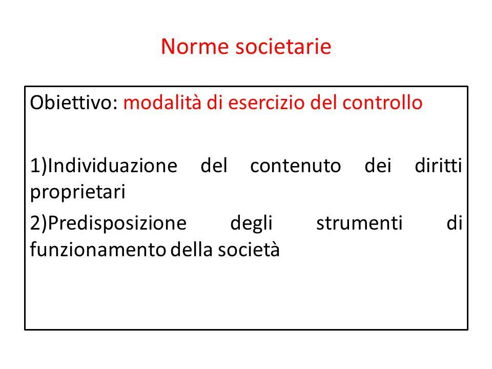 Norme societarie Obiettivo: modalità di esercizio del controllo 1)Individuazione del contenuto dei diritti proprietari 2)Predisposizione degli strumen