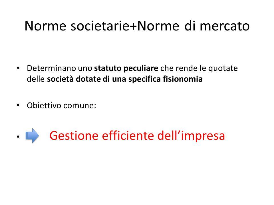 Norme societarie+Norme di mercato Determinano uno statuto peculiare che rende le quotate delle società dotate di una specifica fisionomia Obiettivo co
