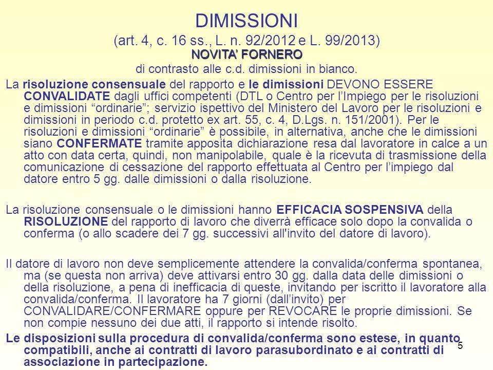 16 LA GIUSTA CAUSA: CONTENUTO (artt.2119 c.c., 8 L.