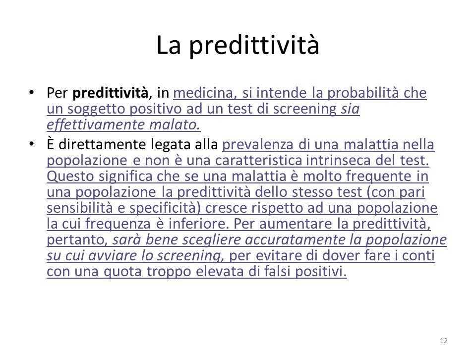 La predittività Per predittività, in medicina, si intende la probabilità che un soggetto positivo ad un test di screening sia effettivamente malato.me