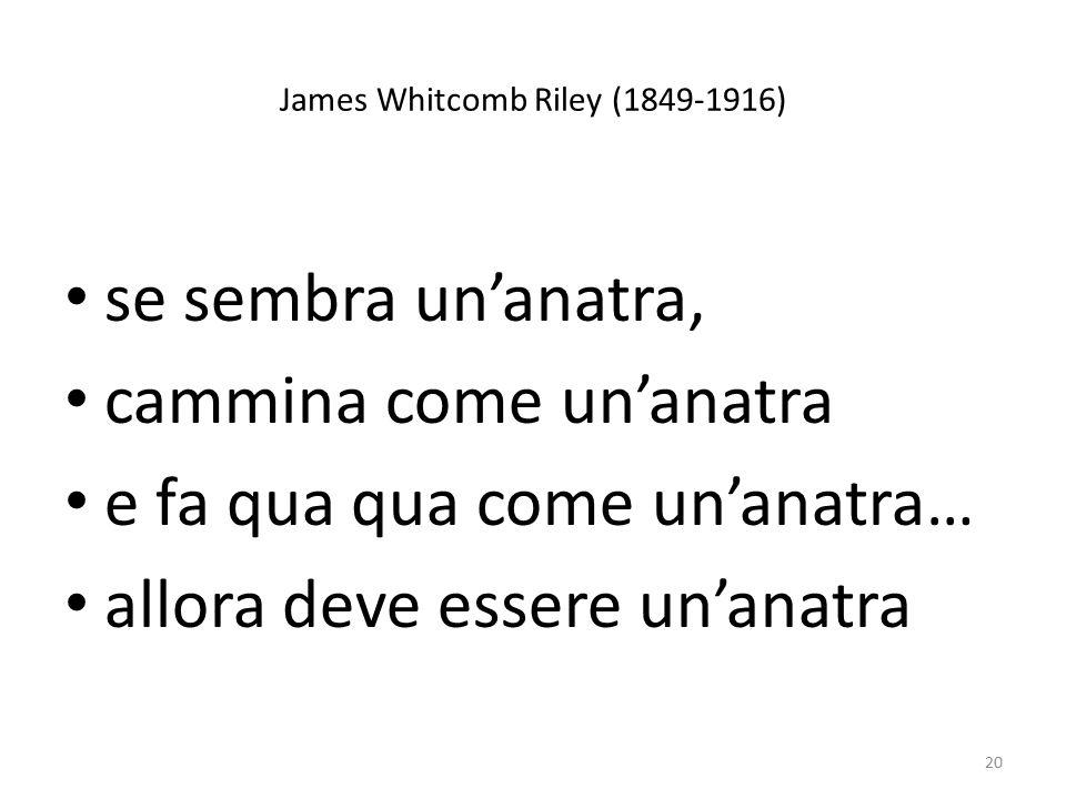 James Whitcomb Riley (1849-1916) se sembra un'anatra, cammina come un'anatra e fa qua qua come un'anatra… allora deve essere un'anatra 20