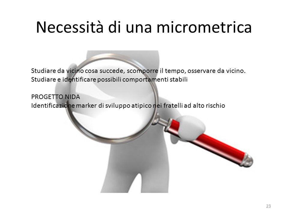 Necessità di una micrometrica Studiare da vicino cosa succede, scomporre il tempo, osservare da vicino. Studiare e identificare possibili comportament
