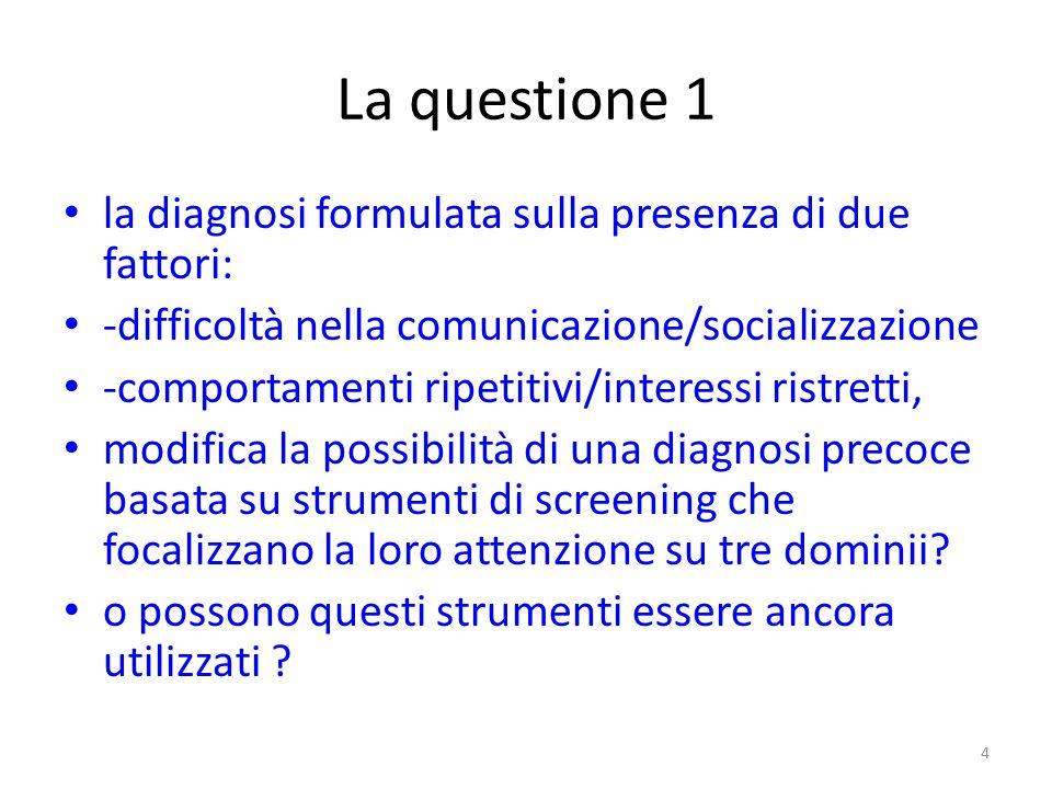 La questione 1 la diagnosi formulata sulla presenza di due fattori: -difficoltà nella comunicazione/socializzazione -comportamenti ripetitivi/interess