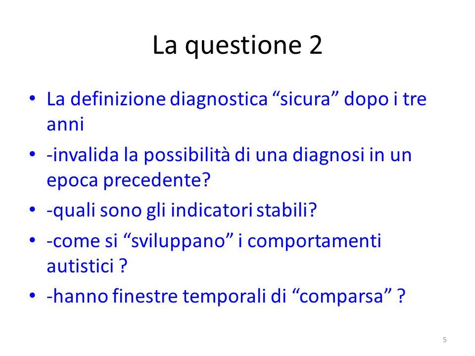 """La questione 2 La definizione diagnostica """"sicura"""" dopo i tre anni -invalida la possibilità di una diagnosi in un epoca precedente? -quali sono gli in"""