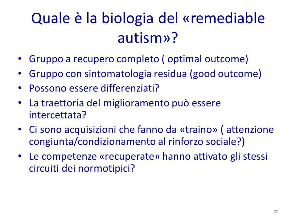 Quale è la biologia del «remediable autism»? Gruppo a recupero completo ( optimal outcome) Gruppo con sintomatologia residua (good outcome) Possono es