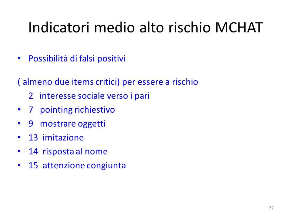 Indicatori medio alto rischio MCHAT Possibilità di falsi positivi ( almeno due items critici) per essere a rischio 2 interesse sociale verso i pari 7