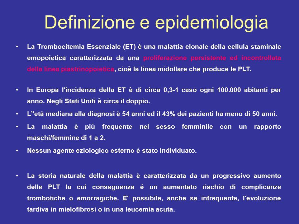 La Trombocitemia Essenziale (ET) è una malattia clonale della cellula staminale emopoietica caratterizzata da una proliferazione persistente ed incontrollata della linea piastrinopoietica, cioè la linea midollare che produce le PLT.