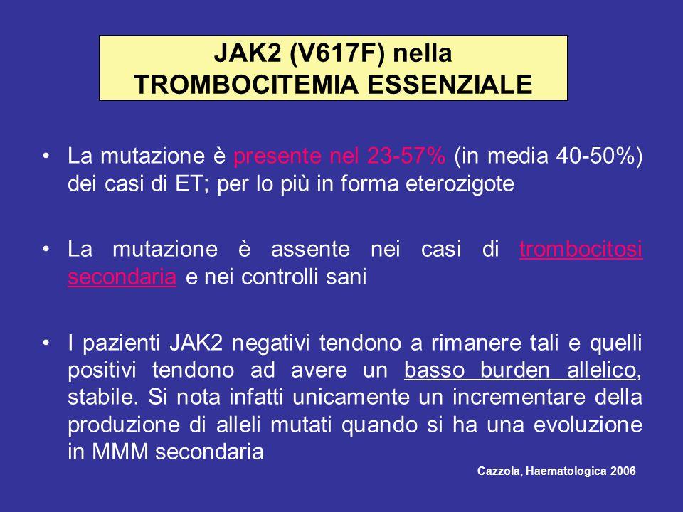 JAK2 (V617F) nella TROMBOCITEMIA ESSENZIALE La mutazione è presente nel 23-57% (in media 40-50%) dei casi di ET; per lo più in forma eterozigote La mutazione è assente nei casi di trombocitosi secondaria e nei controlli sani I pazienti JAK2 negativi tendono a rimanere tali e quelli positivi tendono ad avere un basso burden allelico, stabile.
