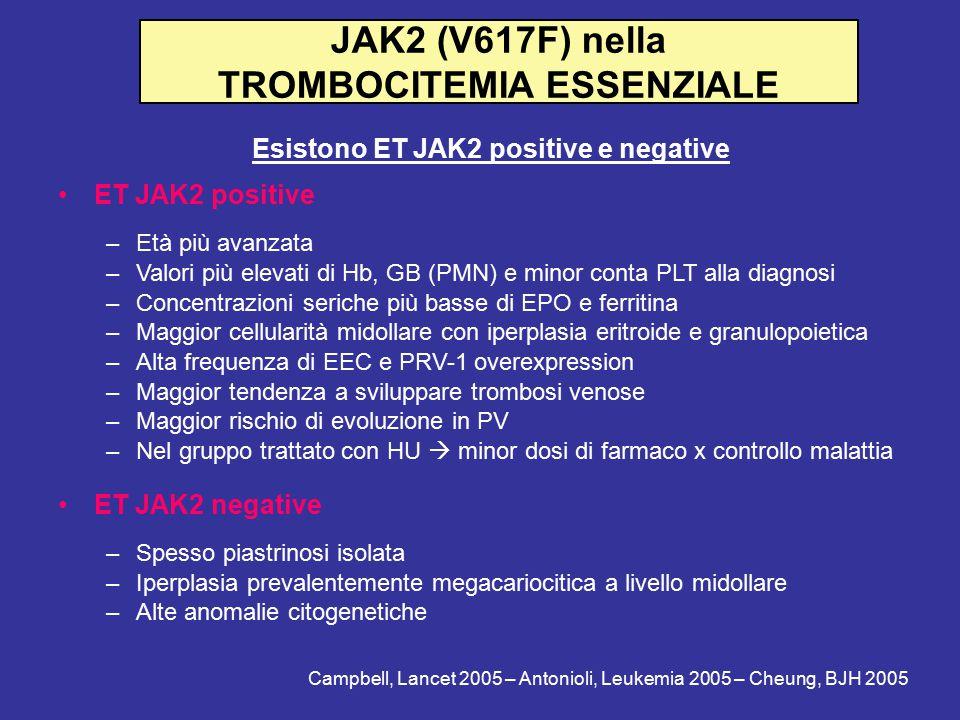 JAK2 (V617F) nella TROMBOCITEMIA ESSENZIALE Esistono ET JAK2 positive e negative ET JAK2 positive –Età più avanzata –Valori più elevati di Hb, GB (PMN) e minor conta PLT alla diagnosi –Concentrazioni seriche più basse di EPO e ferritina –Maggior cellularità midollare con iperplasia eritroide e granulopoietica –Alta frequenza di EEC e PRV-1 overexpression –Maggior tendenza a sviluppare trombosi venose –Maggior rischio di evoluzione in PV –Nel gruppo trattato con HU  minor dosi di farmaco x controllo malattia ET JAK2 negative –Spesso piastrinosi isolata –Iperplasia prevalentemente megacariocitica a livello midollare –Alte anomalie citogenetiche Campbell, Lancet 2005 – Antonioli, Leukemia 2005 – Cheung, BJH 2005