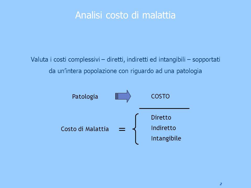 2 Analisi costo di malattia Valuta i costi complessivi – diretti, indiretti ed intangibili – sopportati da un'intera popolazione con riguardo ad una p