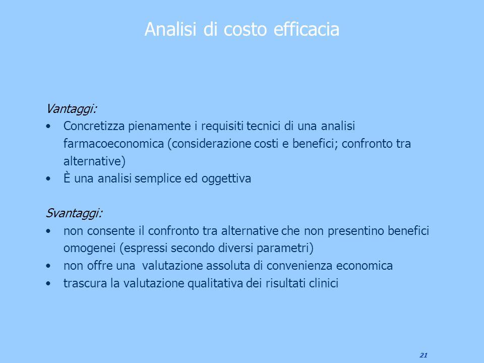 21 Analisi di costo efficacia Vantaggi: Concretizza pienamente i requisiti tecnici di una analisi farmacoeconomica (considerazione costi e benefici; c