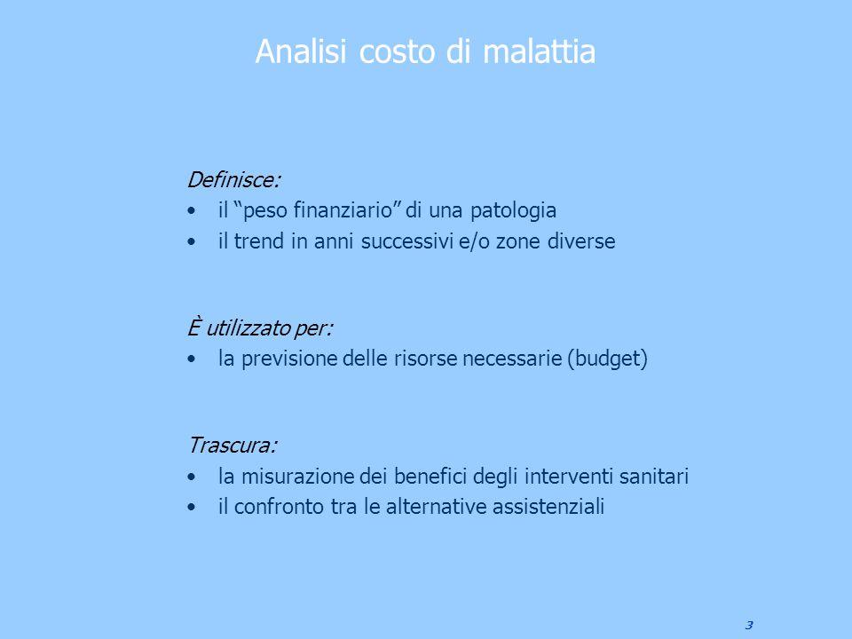 """3 Analisi costo di malattia Definisce: il """"peso finanziario"""" di una patologia il trend in anni successivi e/o zone diverse È utilizzato per: la previs"""