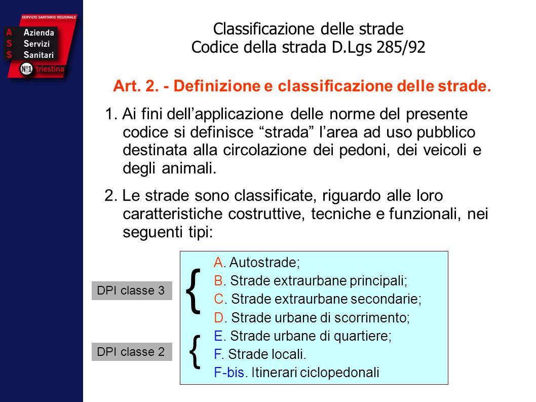 """Art. 2. - Definizione e classificazione delle strade. 1. Ai fini dell'applicazione delle norme del presente codice si definisce """"strada"""" l'area ad uso"""