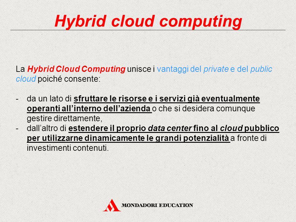 Hybrid cloud computing La Hybrid Cloud Computing unisce i vantaggi del private e del public cloud poiché consente: -da un lato di sfruttare le risorse e i servizi già eventualmente operanti all'interno dell'azienda o che si desidera comunque gestire direttamente, -dall'altro di estendere il proprio data center fino al cloud pubblico per utilizzarne dinamicamente le grandi potenzialità a fronte di investimenti contenuti.