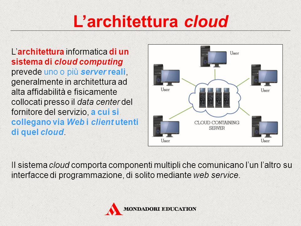 L'architettura cloud L'architettura informatica di un sistema di cloud computing prevede uno o più server reali, generalmente in architettura ad alta affidabilità e fisicamente collocati presso il data center del fornitore del servizio, a cui si collegano via Web i client utenti di quel cloud.