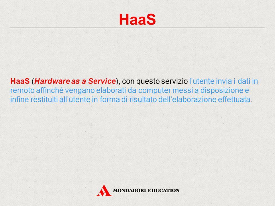 HaaS HaaS (Hardware as a Service), con questo servizio l'utente invia i dati in remoto affinché vengano elaborati da computer messi a disposizione e infine restituiti all'utente in forma di risultato dell'elaborazione effettuata.