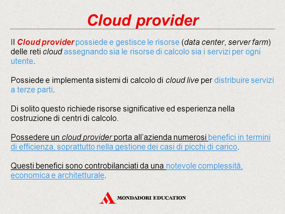 Cloud provider Il Cloud provider possiede e gestisce le risorse (data center, server farm) delle reti cloud assegnando sia le risorse di calcolo sia i servizi per ogni utente.