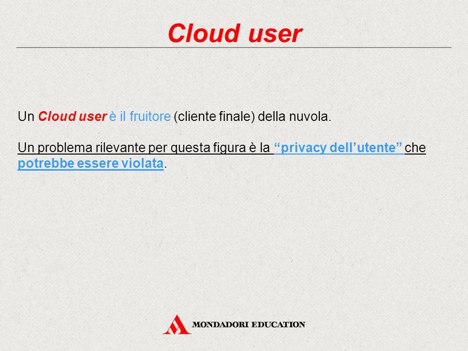 Cloud user Un Cloud user è il fruitore (cliente finale) della nuvola.
