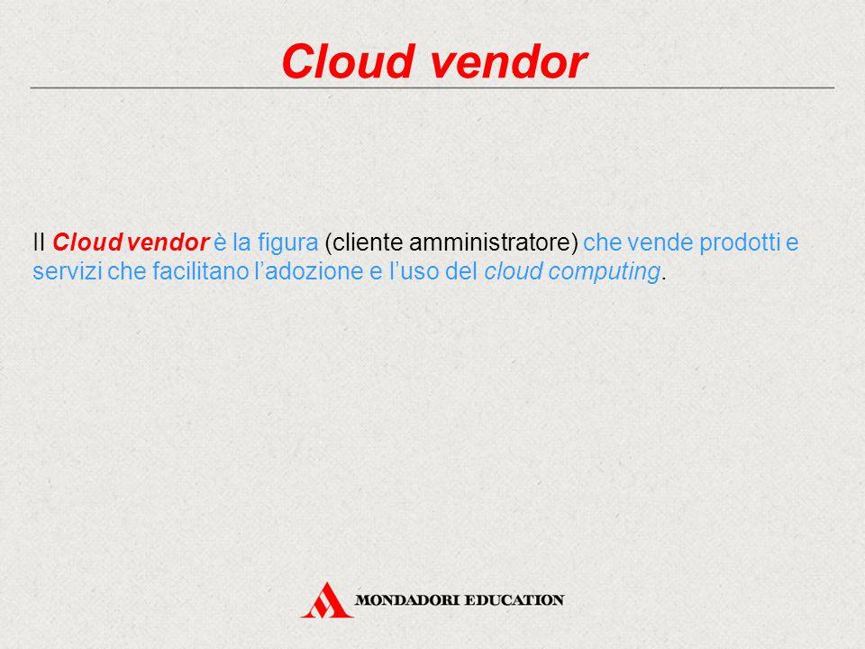 Cloud vendor Il Cloud vendor è la figura (cliente amministratore) che vende prodotti e servizi che facilitano l'adozione e l'uso del cloud computing.