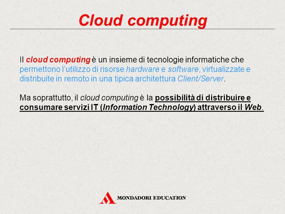 Cloud computing e implementazione risorse Il cloud computing rende disponibili all'utilizzatore le risorse come se fossero implementate da sistemi standard .