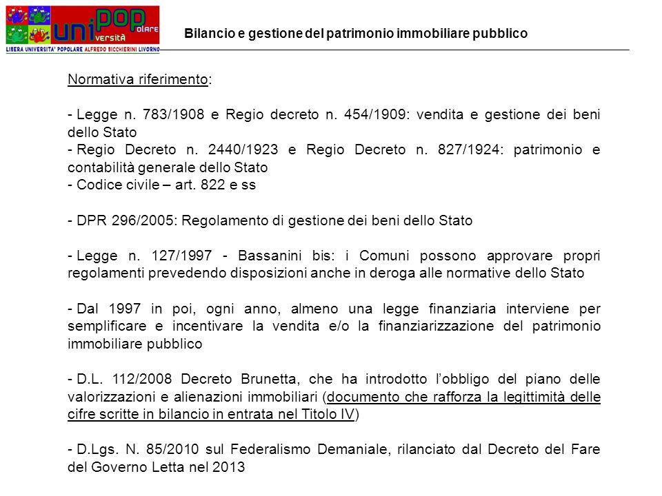 Normativa riferimento: - Legge n. 783/1908 e Regio decreto n.