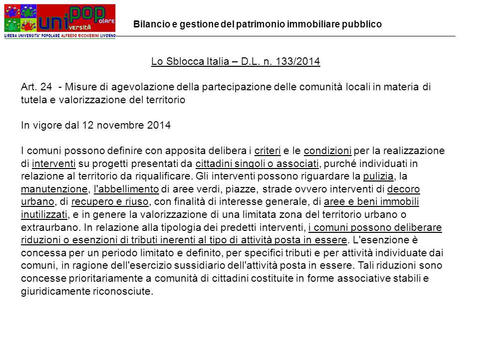 Lo Sblocca Italia – D.L. n. 133/2014 Art.