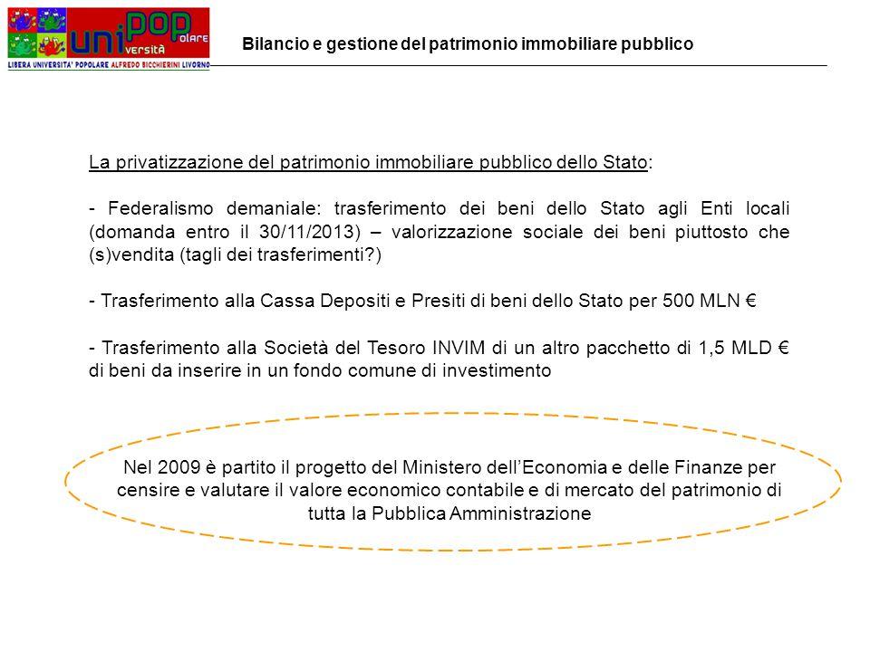 La privatizzazione del patrimonio immobiliare pubblico dello Stato: - Federalismo demaniale: trasferimento dei beni dello Stato agli Enti locali (domanda entro il 30/11/2013) – valorizzazione sociale dei beni piuttosto che (s)vendita (tagli dei trasferimenti ) - Trasferimento alla Cassa Depositi e Presiti di beni dello Stato per 500 MLN € - Trasferimento alla Società del Tesoro INVIM di un altro pacchetto di 1,5 MLD € di beni da inserire in un fondo comune di investimento Nel 2009 è partito il progetto del Ministero dell'Economia e delle Finanze per censire e valutare il valore economico contabile e di mercato del patrimonio di tutta la Pubblica Amministrazione Bilancio e gestione del patrimonio immobiliare pubblico