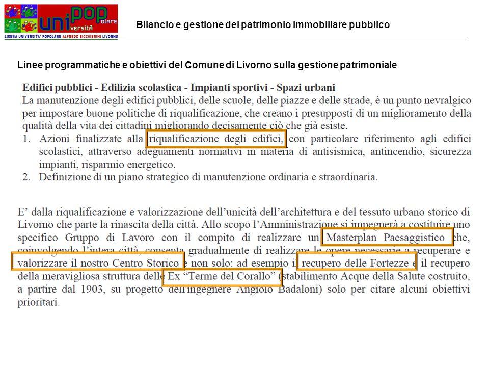 Bilancio e gestione del patrimonio immobiliare pubblico Linee programmatiche e obiettivi del Comune di Livorno sulla gestione patrimoniale