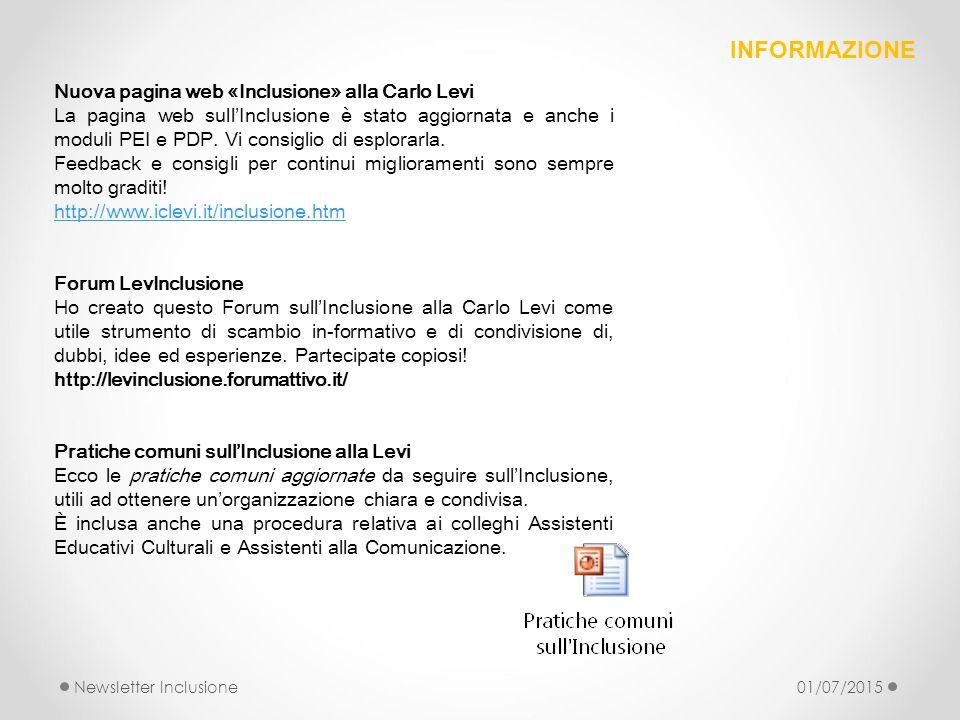 Nuova pagina web «Inclusione» alla Carlo Levi La pagina web sull'Inclusione è stato aggiornata e anche i moduli PEI e PDP. Vi consiglio di esplorarla.
