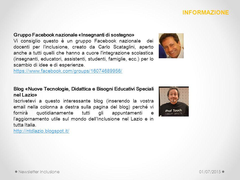 Gruppo Facebook nazionale «Insegnanti di sostegno» Vi consiglio questo è un gruppo Facebook nazionale dei docenti per l'inclusione, creato da Carlo Sc