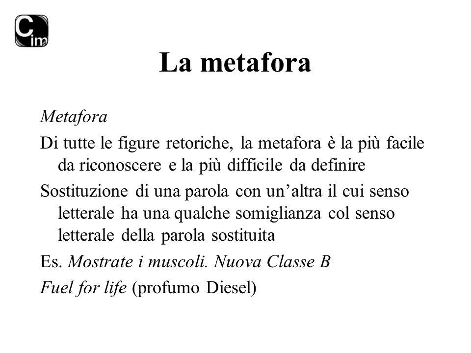 La metafora Metafora Di tutte le figure retoriche, la metafora è la più facile da riconoscere e la più difficile da definire Sostituzione di una parol