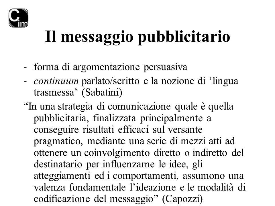 """Il messaggio pubblicitario -forma di argomentazione persuasiva -continuum parlato/scritto e la nozione di 'lingua trasmessa' (Sabatini) """"In una strate"""