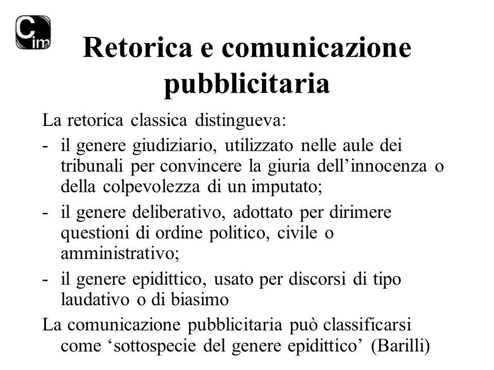Retorica e comunicazione pubblicitaria La retorica classica distingueva: -il genere giudiziario, utilizzato nelle aule dei tribunali per convincere la