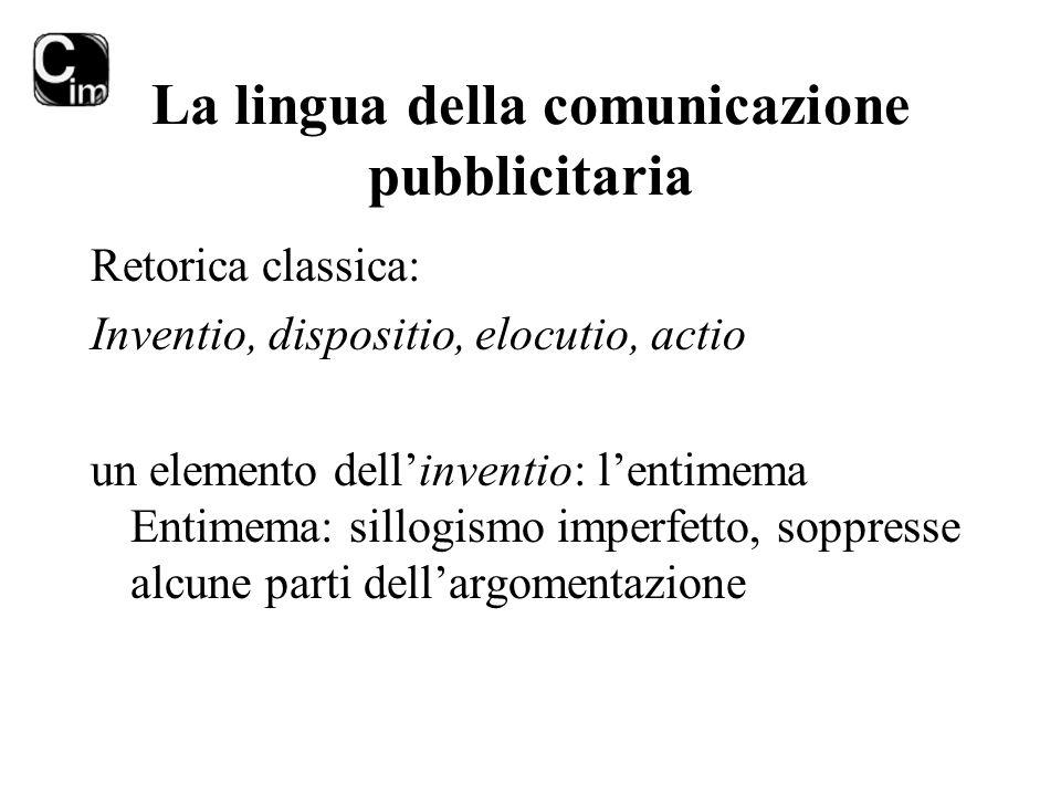 La lingua della comunicazione pubblicitaria Retorica classica: Inventio, dispositio, elocutio, actio un elemento dell'inventio: l'entimema Entimema: s