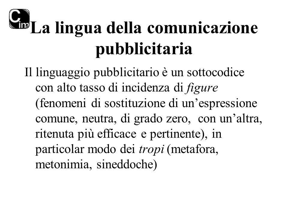 La lingua della comunicazione pubblicitaria Il linguaggio pubblicitario è un sottocodice con alto tasso di incidenza di figure (fenomeni di sostituzio