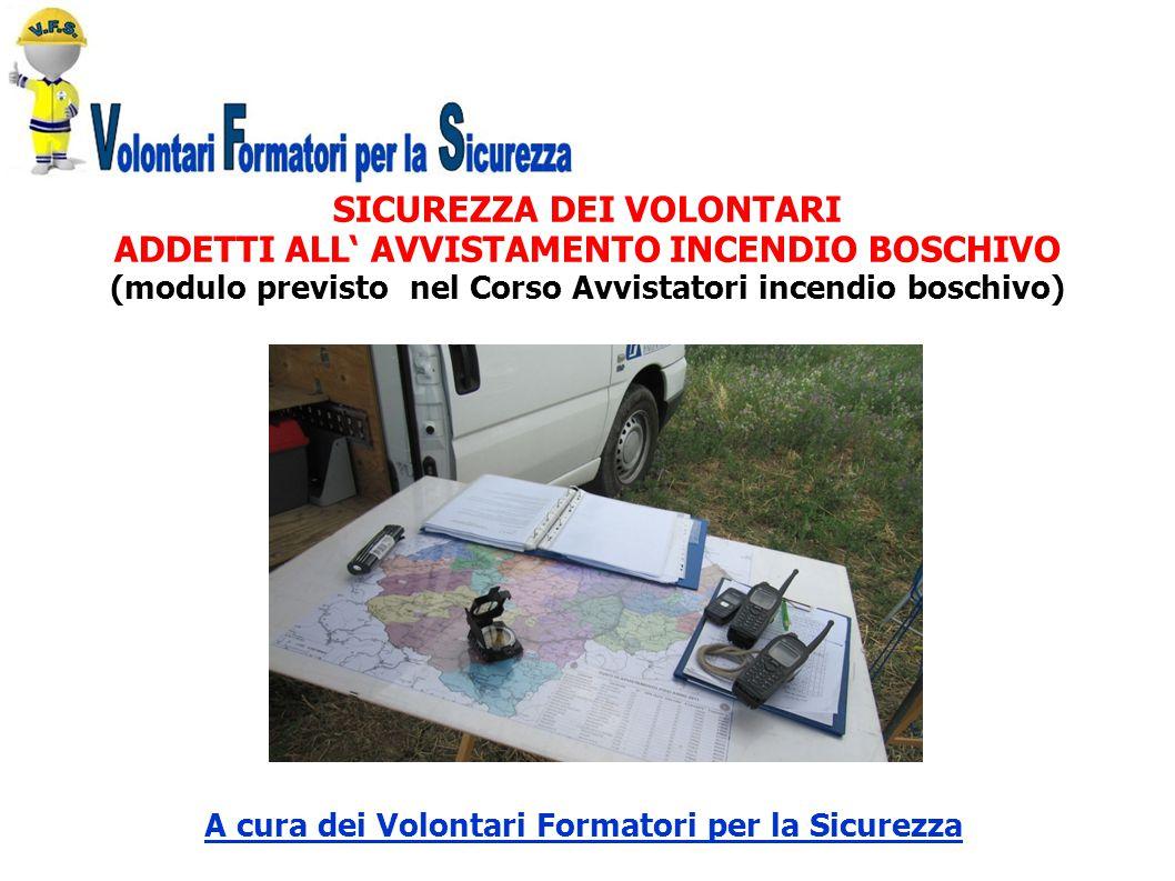 SICUREZZA DEI VOLONTARI ADDETTI ALL' AVVISTAMENTO INCENDIO BOSCHIVO (modulo previsto nel Corso Avvistatori incendio boschivo) A cura dei Volontari For