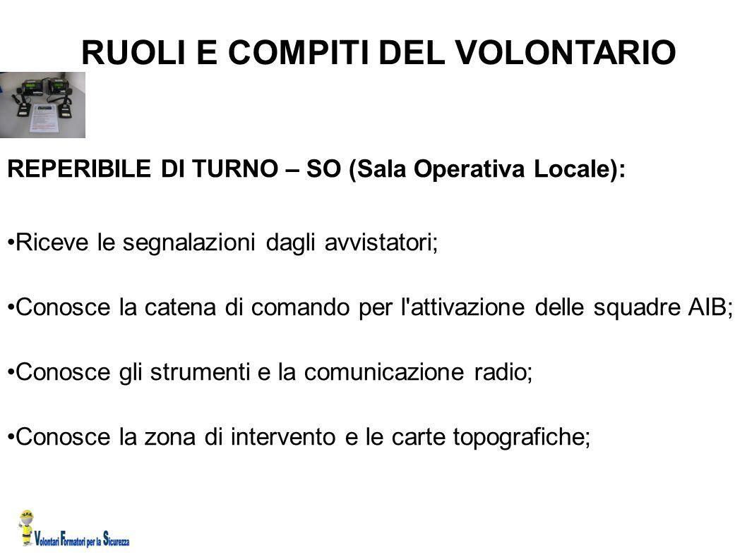 RUOLI E COMPITI DEL VOLONTARIO REPERIBILE DI TURNO – SO (Sala Operativa Locale): Riceve le segnalazioni dagli avvistatori; Conosce la catena di comand