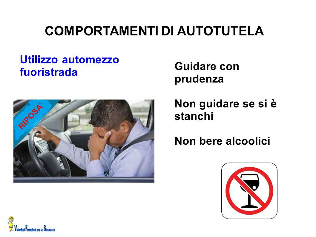 COMPORTAMENTI DI AUTOTUTELA Utilizzo automezzo fuoristrada Guidare con prudenza Non guidare se si è stanchi Non bere alcoolici RIPOSA