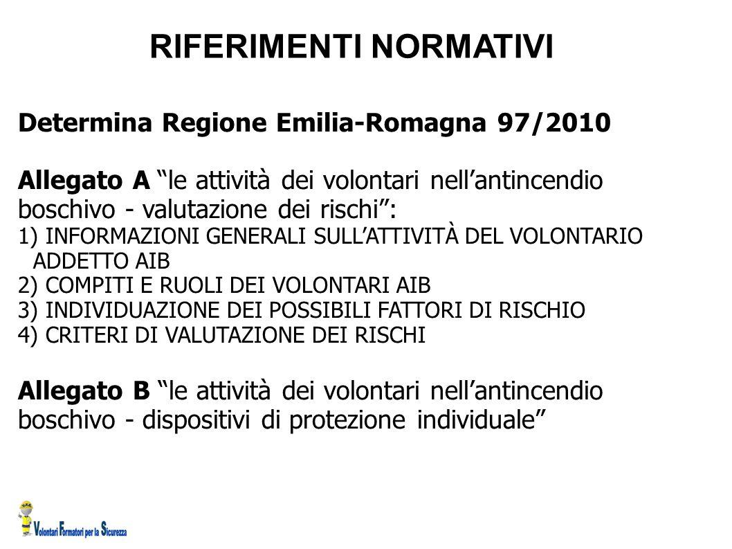 """RIFERIMENTI NORMATIVI Determina Regione Emilia-Romagna 97/2010 Allegato A """"le attività dei volontari nell'antincendio boschivo - valutazione dei risch"""