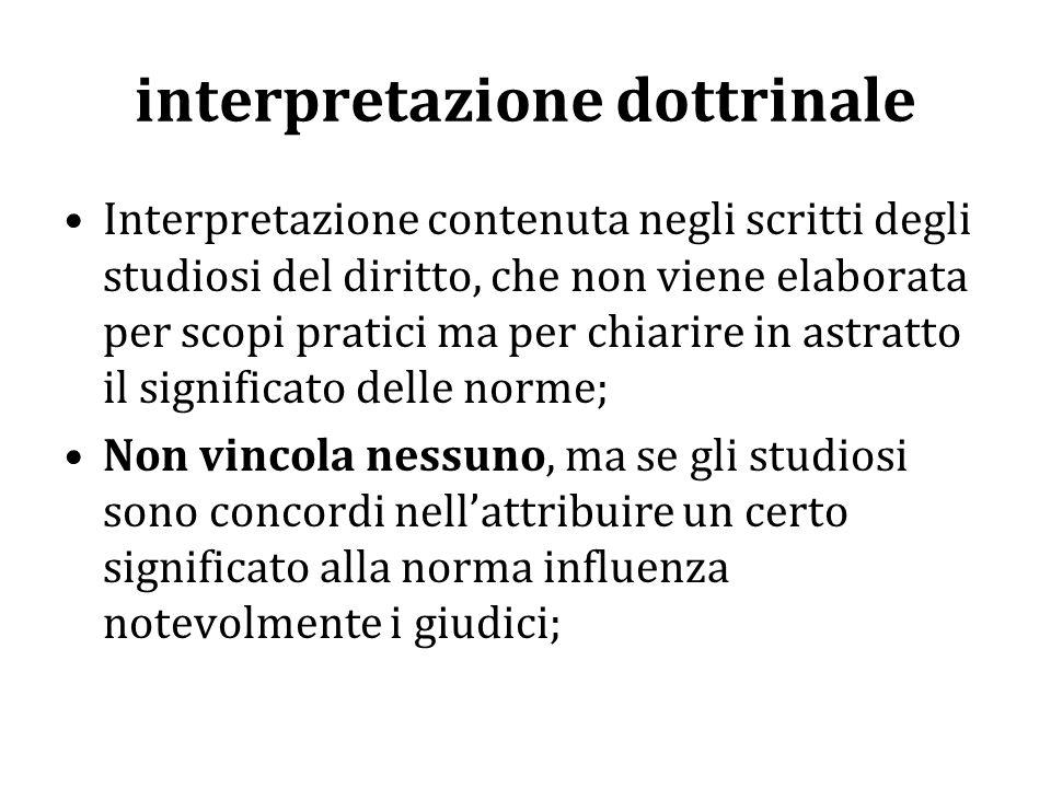 interpretazione autentica Interpretazione fatta dal legislatore con una nuova norma, al fine di togliere ogni dubbio sui diversi possibili significati di una legge; Vincola tutti.
