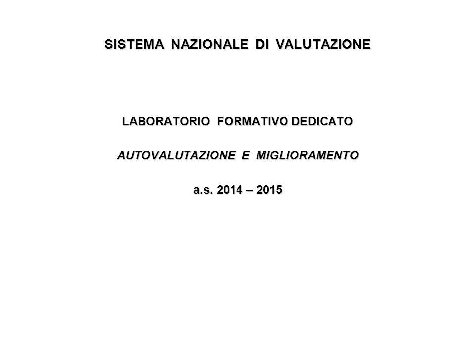 SISTEMA NAZIONALE DI VALUTAZIONE LABORATORIO FORMATIVO DEDICATO AUTOVALUTAZIONE E MIGLIORAMENTO a.s. 2014 – 2015